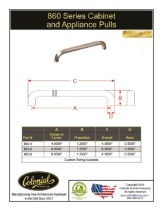 thumbnail of Colonial Bronze PROD 860 Series Pulls Specifications