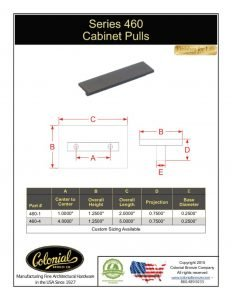 thumbnail of Colonial Bronze PROD 460 Series Pull Specifications